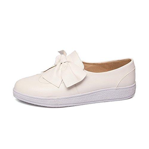 VogueZone009 Femme Pu Cuir Tire Rond à Talon Bas Chaussures Légeres Blanc
