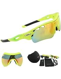 DUCO Gafas Deportivas Polarizadas con Estuche Rígido y Lentes Intercambiables Protección Ultravioleta UV400 para Hombre Marco Verde Fluorescente