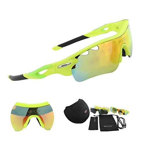 Duco Polarisierte Fahrradbrille Radfahren Sportbrille Sonnenbrille Schutzbrille 0025 (Grün)