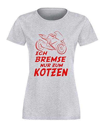 Ich Bremse nur zum Kotzen - Damen Rundhals T-Shirt Grau/Rot