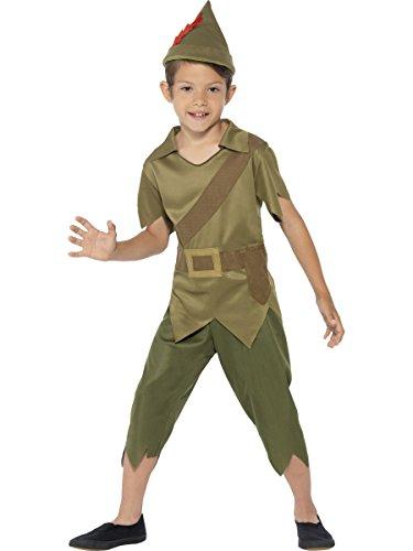 chamboolee - Kinder Robin Hood Kostüm- Waldläufer Elfkostüm Elf mit Hose, Shirt und Mütze, 104-116, 4-6 Jahre, Grün
