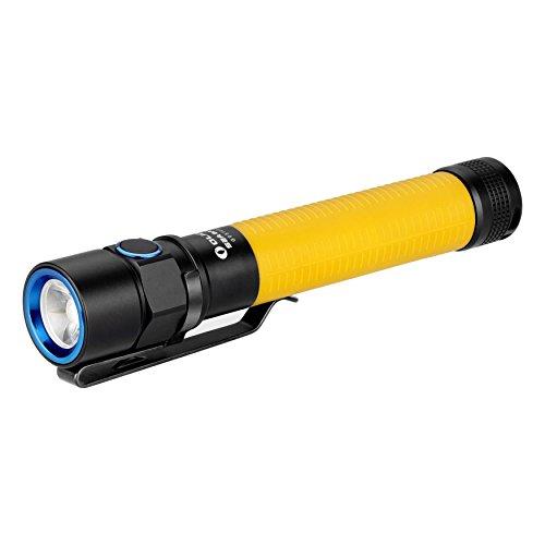 Olight® S2A Baton LED AA Taschenlampe max. 550 Lumen mit Cree XM-L2 LED – angetrieben durch 2AA Batterien, inkl. 2 x 1.5V AA Lithium-Eisen-Disulfid-Batterien und 1 x Handschlaufe, Gelb