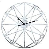 Searchyou - 50CM Relojes de Pared Arte de Hierro Forma de Estrella Estilo Vintage Silencioso para Salón Dormitorio - (Plata Retro)