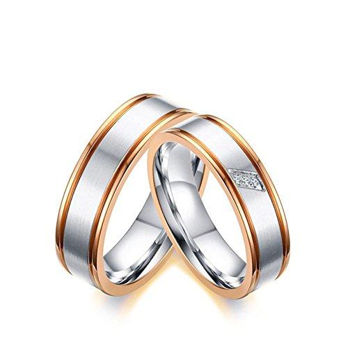 SonMo 2 Stück Frau Mann Edelstahl Verlobungsring Bicolor Trauringe Matt für Paare Silberne Rose Gold Frau:57 (18.1) & Mann:60 (19.1) Breit:6MM