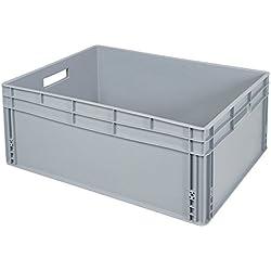 Eurobehälter mit Durchfaßgriffen, LxBxH 800 x 600 x 320 mm, 130 Liter, lebensmittelecht, Industriequalität
