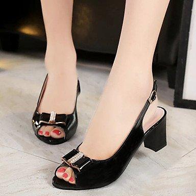 LvYuan Da donna Sandali Comoda Gomma Estate Footing Comoda Fibbia Heel di blocco Bianco Nero Rosa Meno di 2,5 cm Black