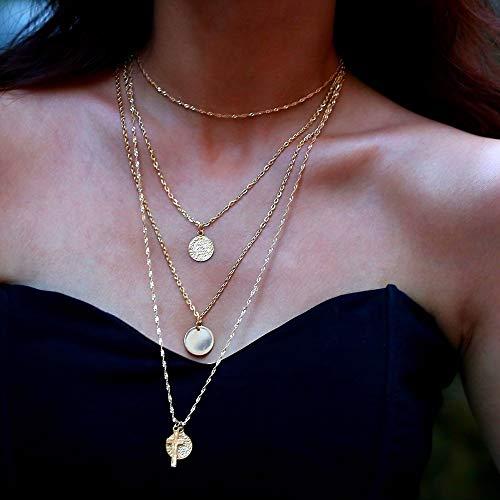 TLLAMG Halskette Geschichteten Religiösen Kette Halskette Eisernes Kreuz Münze Anhänger Lange Choker Halskette Frauen Schmuck