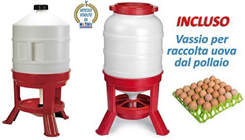 Novital Abbeveratoio Galline Serbatoio da lt.30 e Mangiatoia da kg.25-30 Circa con antispreco mangime, Serve per polli, Galline, Tacchini, oche e avicoli in Genere