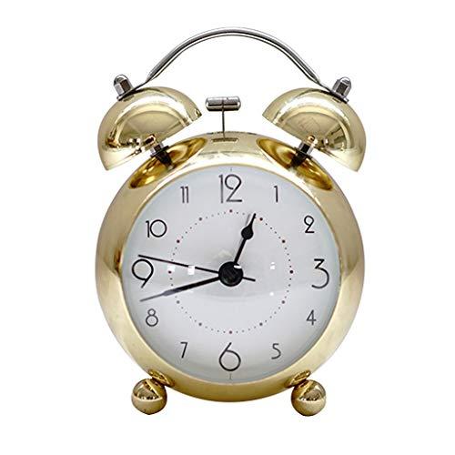 Unbekannt Überzug Wecker Vintage Metall Glocke Kreative Nacht Stille Nachtlicht Multifunktions Zwei Farben 10 * 14 cm XMJ (Farbe : Gold)