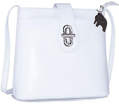 Borsetta piccola a tracolla in vera pelle italiana di Big Handbag Shop White (SD789)