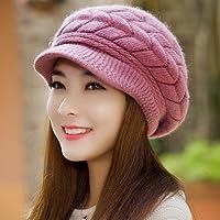 Wenxin0815 Damen Winter Strickmütze Cap Schirmmütze Mit Warmen Ohrenschützer