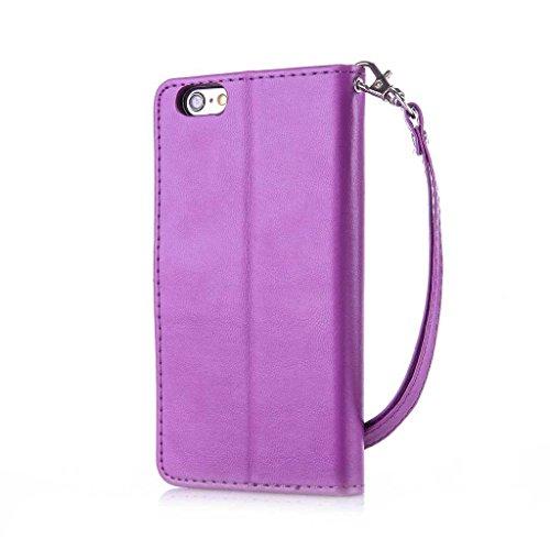 iPhone 6/iPhone 6S Custodia + libero protezione per lo schermo in vetro temperato, boxtii® PU Custodia a portafoglio in pelle con laccio [] per Apple Iphone 6s/iphone 6, Golden Butterfly Design elegan #10 Purple