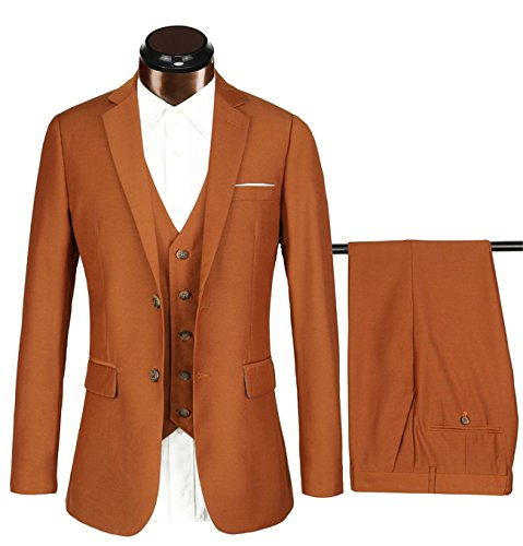 Herren Modern Fit Business Casual 3-Stück-Anzug Blazer Jacke Tux Weste & Hose(braun,2XL)