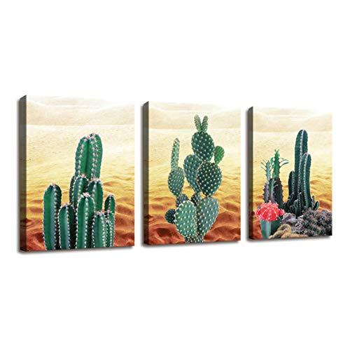 r Leinwandbild für Schlafzimmer Dekor Wüste Kaktus Gemälde Badezimmer Wanddekoration - 3 Panels Leinwand Kunstwerk für Wände, Tropische Pflanzen Fotoprints für Zuhause, Büro Dekor ()