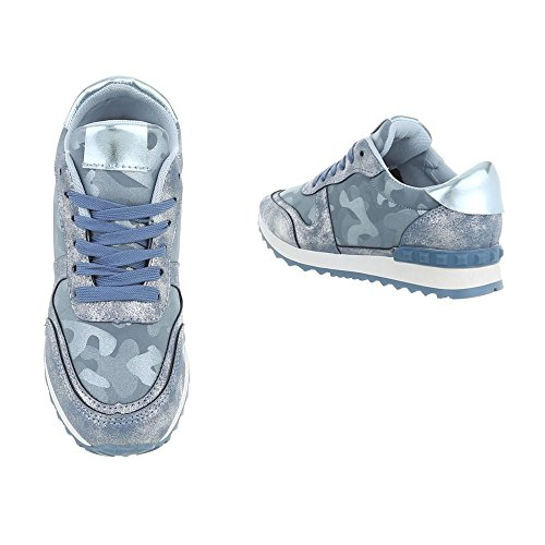 Ital-Design Scarpe da Donna Sneaker Piatto Sneakers Low blu Multi G-99