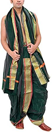 Exotic India Men's Ready to Wear Dhoti and Veshti Set with Woven Golden Border - Color Green GablesGarment Size Free Size