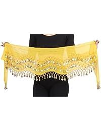 Belly Dance Bauchtanz Hüfttuch Kostüm 128 goldfarbenen Münzen Münzgürtel Fasching Karneval Tanzaufführung Gürtel in gelb / Marke PRECORN