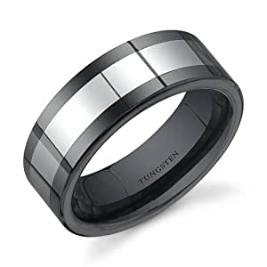 Revoni Flat Edge 8 mm Comfort Fit Mens Black Ceramic and Tungsten Combination Wedding Band Ring Size P 1/2,