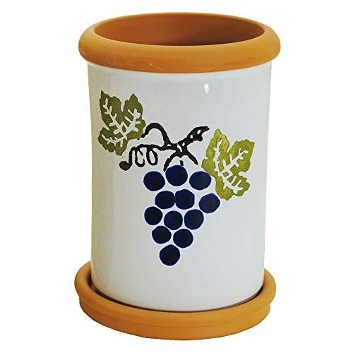 Weinkühler mit Untersetzer aus Terrakotta H 20 cm Sektkühler