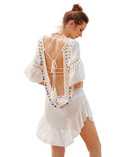 DIDK Damen Bikini Vertuschen Crochet Knit Hollow-Out Rückenfrei Kurzarm Strandkleid Cover Up Badeanzug Bikini-Kittel Weiß One Size -