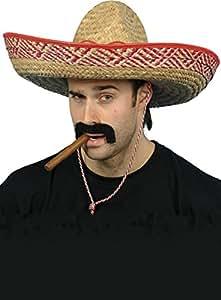 Smiffys SM92011 Magnifique Sombrero En Paille Extra Large + Corde Déguisement de Mexicain Taille L Paille