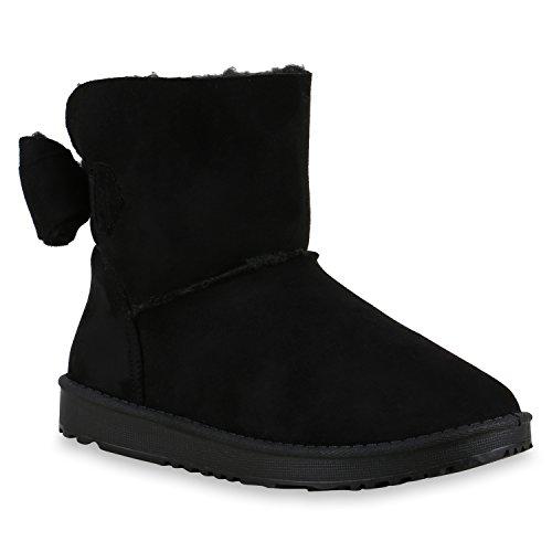Damen Schuhe Schlupfstiefel Boots Warm gefüttert Schleife Schwarz