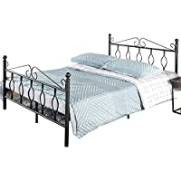 Aingoo 4ft 6 Metal Double Bed Frame with Vintage Headboard and Footboard Solid Bedstead Base with Large Storage Space Black