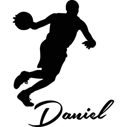 Etiquetas de la Pared Vinilo Adhesivo de nombre personalizado de baloncesto infantil gimnasio Interior de adhesivo de diseño sala de decoración del hogar dormitorio arte murales (100Tallx80Wide) Ah56