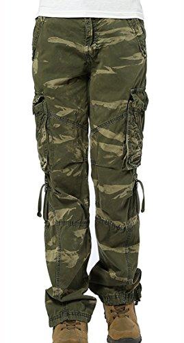 Urbanboutique Damen Cargohose, 6 Taschen, Baumwolle, Armee-Militär-Hose Gr. S, Camouflage