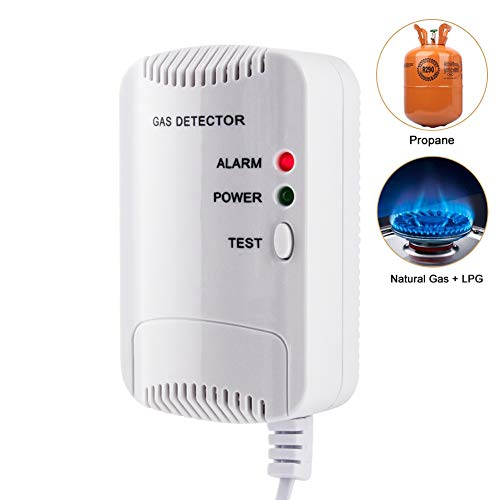 Gasmelder, Haushalts Erdgas Flüssiggas Stadtgas Alarme, Brennbaren Methan Propan Butan Gas Lecksucher Blinklichtalarm (Weiß)