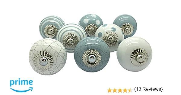 G decor set di 8 pomelli rotondi in ceramica di colore bianco e