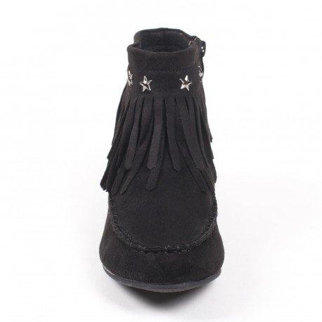 Ideal Shoes - Bottines à franges effet daim style indien ornés d'étoiles Divana Noir