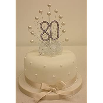 CAKE TOPPER PEARL BURST SPRAY DIAMANTE 80th BIRTHDAY IVORY PEARLS