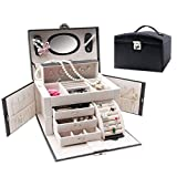 HM&DX Schmuckschatulle Mit Lock Schubladen Lederimitation Große kapazität Aufbewahrung Kosmetikkoffer Für mädchen Damen-schwarz