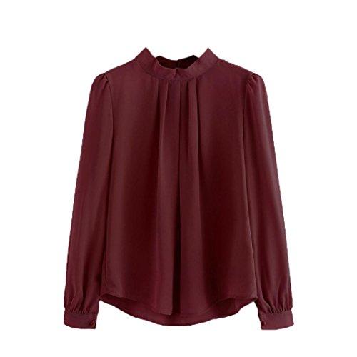 -Shirt/Oberteile Kurzarm - Damen(L,Wein) (Piraten Jacke Braun Wildleder Kostüme)
