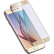 MarvTek Protector de Pantalla Cristal Templado Curvo 3D para Samsung Galaxy S6 Edge Dorado/Gold. Cubre el 100% de la Pantalla hasta los Bordes Curvados. Dureza de 9H con 0.33mm de grosor.