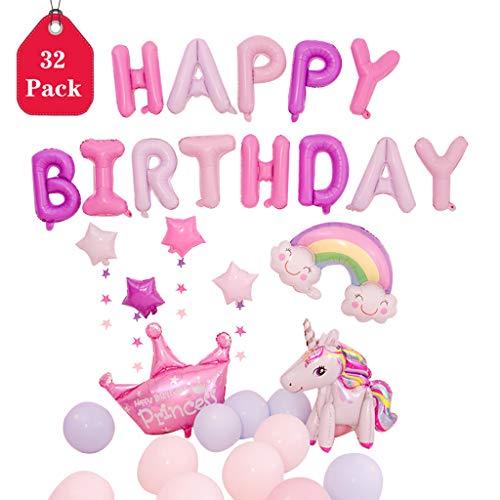 Amycute 32 PCS Globos Unicornio Cumpleaños, Decoración Fiesta Cumpleaños Corona y Arcoiris Globos de Papel de Aluminio de Unicornio Happy Birthday Banner Globo de Latex para Niños Fiesta De Cumpleaños
