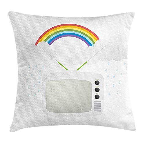 Vintage Rainbow Throw Pillow Cushion Cover, Old TV with Raining Clouds on Antennas Broadcast Entertainment Technology, Decorative Square Accent Pillow Case, 18 X 18 inches, Multicolor