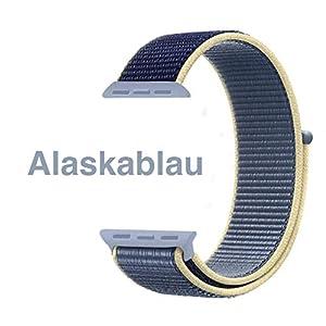 Nylon Armband für Apple Watch in Alaskablau 42/44mm passend für Apple Watch 1 2 3 4 5