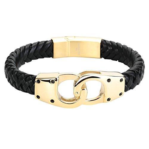 Epinki Herren Armband, 316L Edelstahl Leder Handschellen Form Armbänder Lederarmband Handhandgelenk Kette Schwarz Gold 22CM