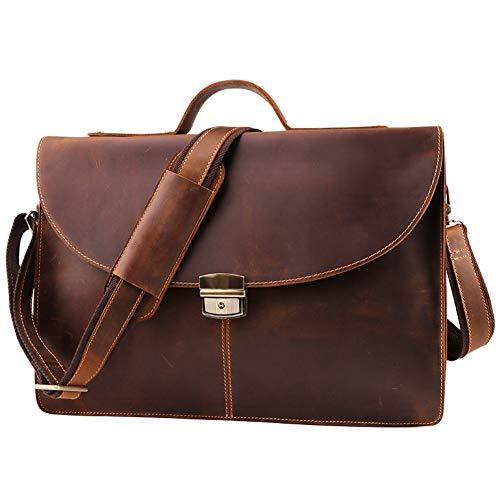 Leder Business Handtasche Schultertasche für Herren Umhängetasche Umhängetasche Umhängetasche Travel schwarz-Brown-OneSize