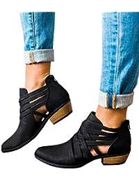 7014ca88d9ec7 Minetom Mujer Verano Otoño Botas Cortas Elegante Cómodas Antideslizante  Tacón Ancho Zapatos Chic Ahuecar Cremallera Bootie