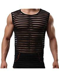 79d12404c Negro Lencería Sexy Hombres Ver A través de Camisetas Eróticas Gay Tank  Tops Ropa Interior Raya Transparente Camisas de Malla Camisetas…