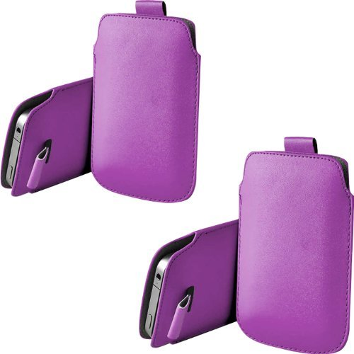 ONX3 TWIN PACK Samsung S7550 Blue Earth PU Leder Pull Tab Pouch Hülle Tasche (Purple) -