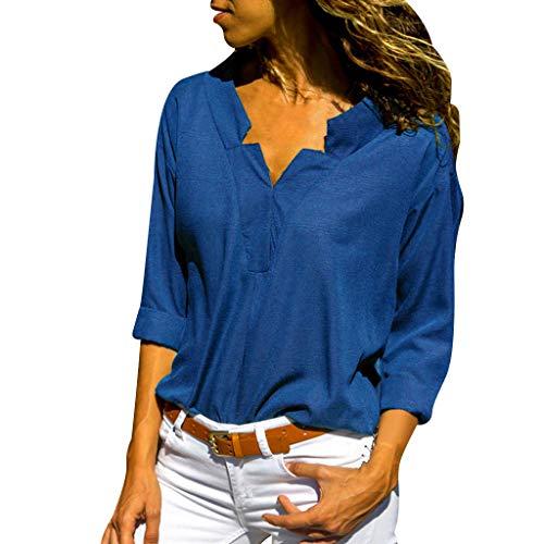 Axong Offres 2019 Femme Chemise Couleur Unie Chic Manche Longue Casual Col V éLéGant Bureau Mode Tee Top Haut Blouse