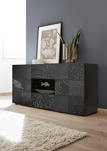 Arredocasagmb.it mobile contenitore 2 ante 2 cassetti moderno grigio lucido anta con serigrafia soggiorno madia buffet con sportelli design mira 07
