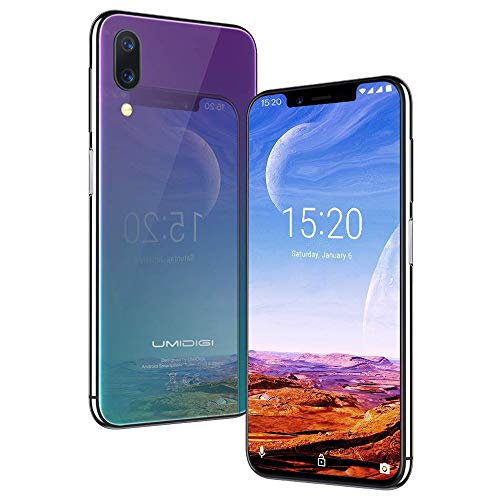 UMIDIGI One Pro, Qi Smartphone ohne Vertrag Android 8.1 Oreo 4GB + 64GB(256GB erweiterbar) Dual SIM Handy 5.9 Zoll 19:9 Notch-Display, Globale Version, Induktion Laden, NFC, 16MP Kamera - Twilight