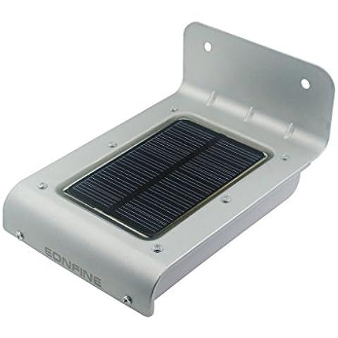 Eonfine 16 accionado Solar Led PIR Motion Sensor de jardín Patio al aire libre césped luz impermeable Solar lámpara de pared, pared exterior inalámbrico de iluminación de seguridad Exterior (No requerida batería) / anochecer a amanecer oscuro, sensor automático de encendido / apagado Color Plata
