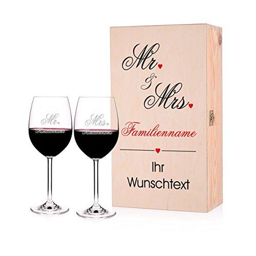 Leonardo Geschenkset zur Hochzeit - Mr. & Mrs. - mit gravierten Gläsern in Premium Verpackung