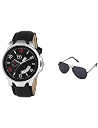 Watch Me Gift Combo Set Of Sunglasses And Black Dial Black Leather Strap Day And Date Collection Series Analog...
